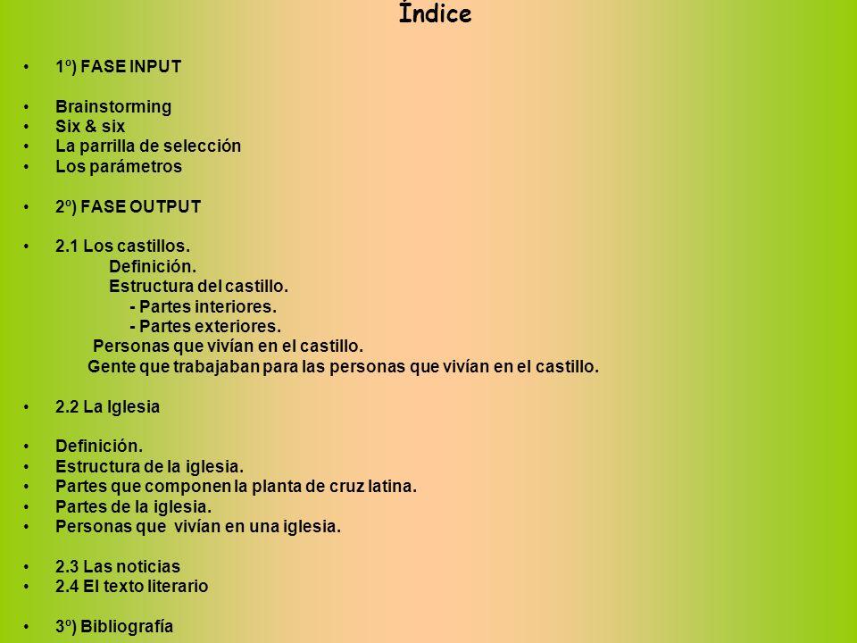 Índice 1º) FASE INPUT Brainstorming Six & six La parrilla de selección Los parámetros 2º) FASE OUTPUT 2.1 Los castillos. Definición. Estructura del ca