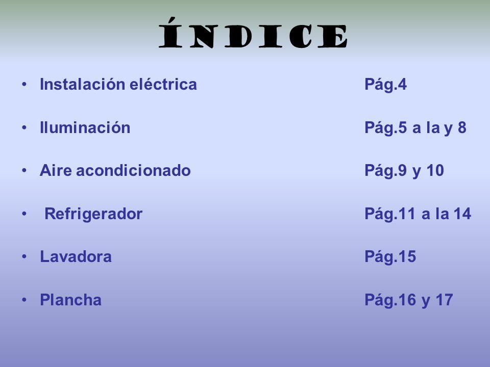 índice Instalación eléctricaPág.4 Iluminación Pág.5 a la y 8 Aire acondicionado Pág.9 y 10 Refrigerador Pág.11 a la 14 Lavadora Pág.15 Plancha Pág.16