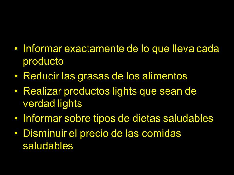 Informar exactamente de lo que lleva cada producto Reducir las grasas de los alimentos Realizar productos lights que sean de verdad lights Informar so