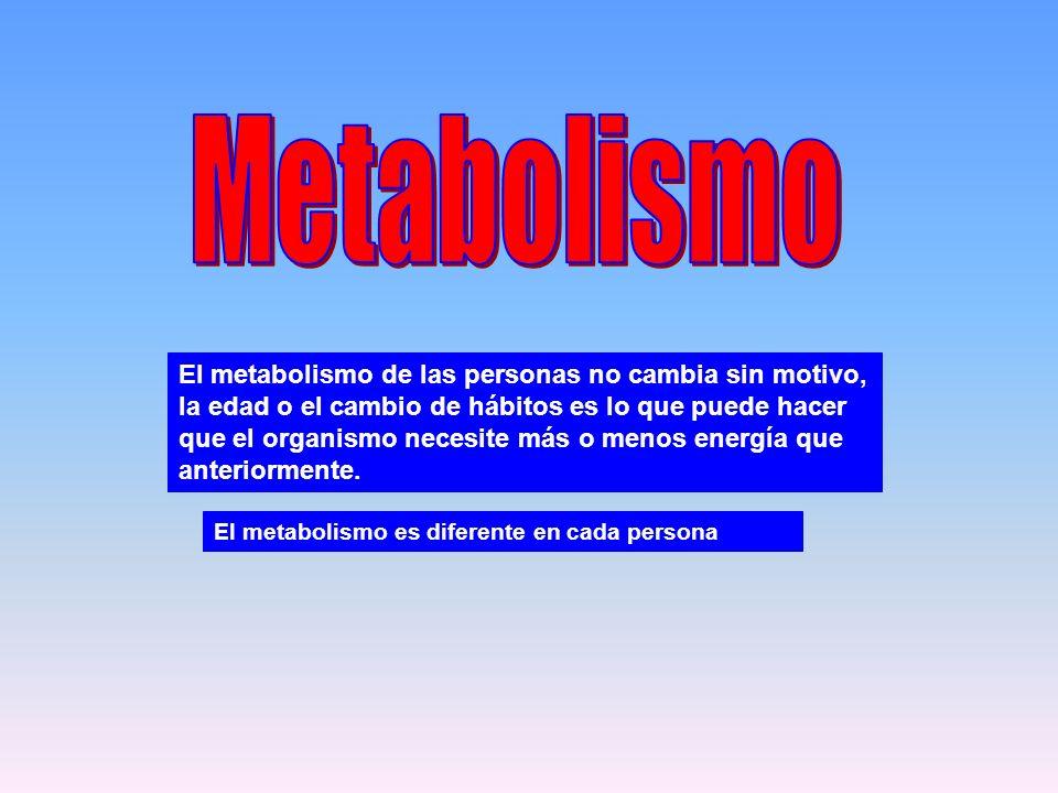 El metabolismo de las personas no cambia sin motivo, la edad o el cambio de hábitos es lo que puede hacer que el organismo necesite más o menos energí