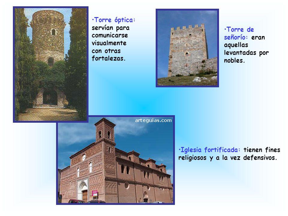 Castillo-convento: típico cristiano y con capilla. Castillo-refugio: se usaba para los casos de invasión. Castillo-palacio cristiano: de uso militar y