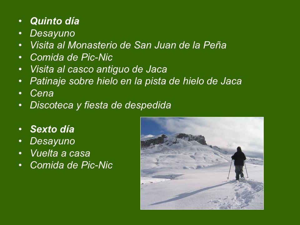 Quinto día Desayuno Visita al Monasterio de San Juan de la Peña Comida de Pic-Nic Visita al casco antiguo de Jaca Patinaje sobre hielo en la pista de