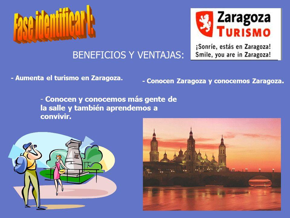 BENEFICIOS Y VENTAJAS: - Conocen Zaragoza y conocemos Zaragoza. - Aumenta el turismo en Zaragoza. - Conocen y conocemos más gente de la salle y tambié