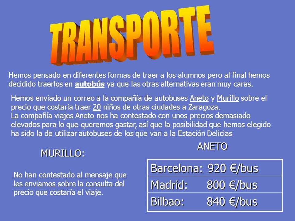 Hemos enviado un correo a la compañía de autobuses Aneto y Murillo sobre el precio que costaría traer 20 niños de otras ciudades a Zaragoza. La compañ