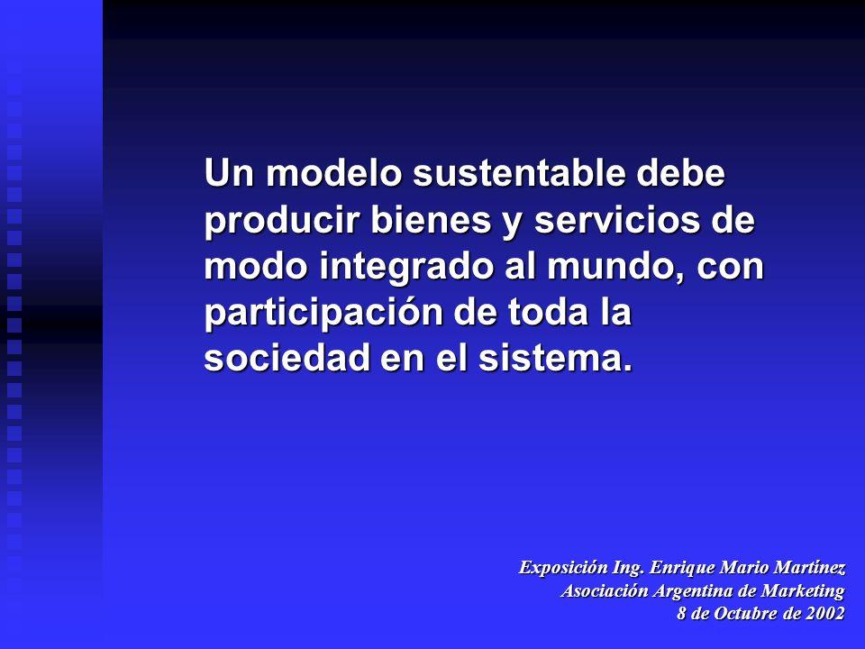 Exposición Ing. Enrique Mario Martínez Asociación Argentina de Marketing 8 de Octubre de 2002 Un modelo sustentable debe producir bienes y servicios d