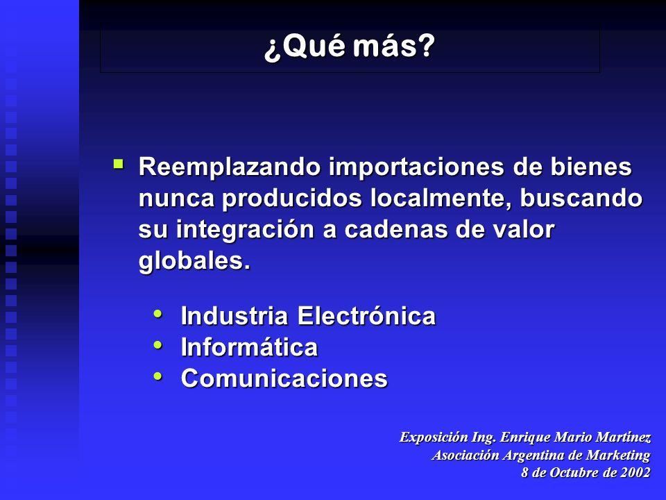 Exposición Ing. Enrique Mario Martínez Asociación Argentina de Marketing 8 de Octubre de 2002 ¿Qué más? Reemplazando importaciones de bienes nunca pro