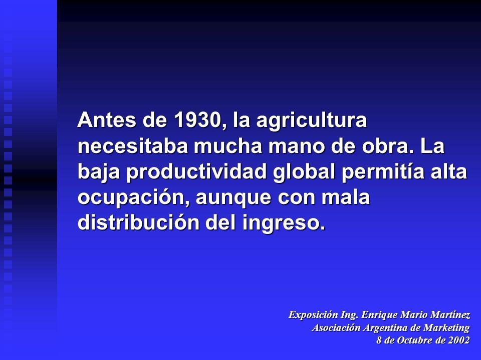 Exposición Ing. Enrique Mario Martínez Asociación Argentina de Marketing 8 de Octubre de 2002 Antes de 1930, la agricultura necesitaba mucha mano de o