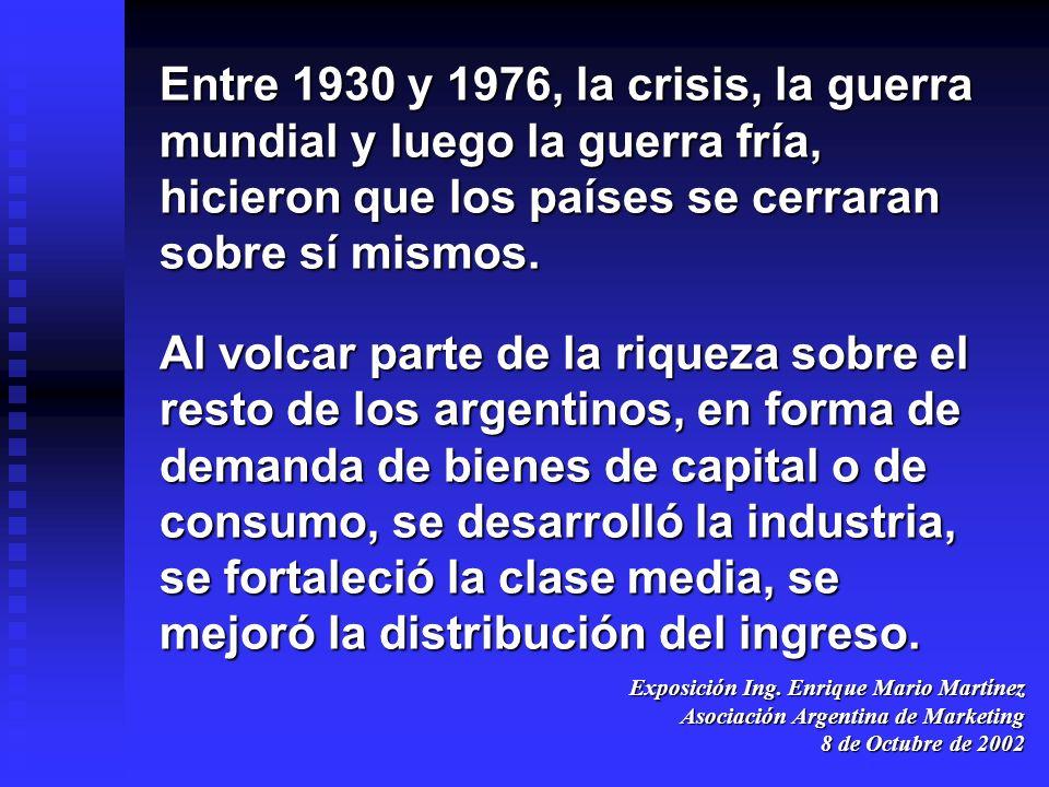 Exposición Ing. Enrique Mario Martínez Asociación Argentina de Marketing 8 de Octubre de 2002 Entre 1930 y 1976, la crisis, la guerra mundial y luego