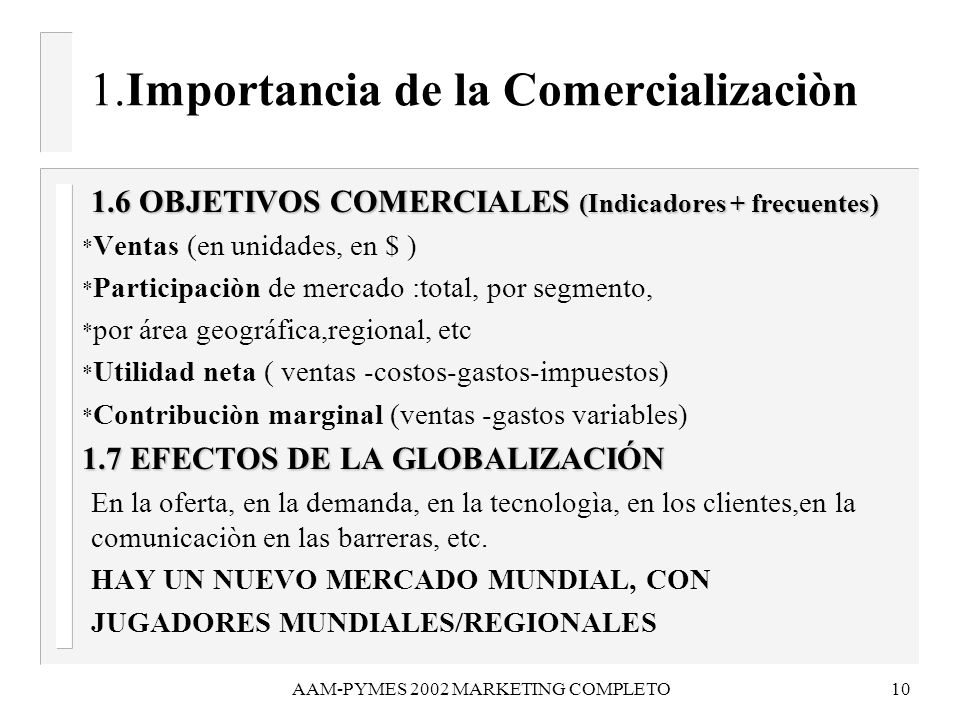 AAM-PYMES 2002 MARKETING COMPLETO10 1.Importancia de la Comercializaciòn 1.6 OBJETIVOS COMERCIALES (Indicadores + frecuentes) 1.6 OBJETIVOS COMERCIALE
