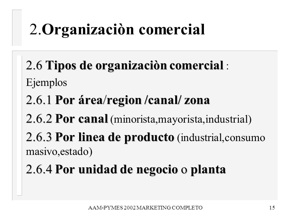 AAM-PYMES 2002 MARKETING COMPLETO15 2.Organizaciòn comercial 2.6 Tipos de organizaciòn comercial 2.6 Tipos de organizaciòn comercial : Ejemplos 2.6.1