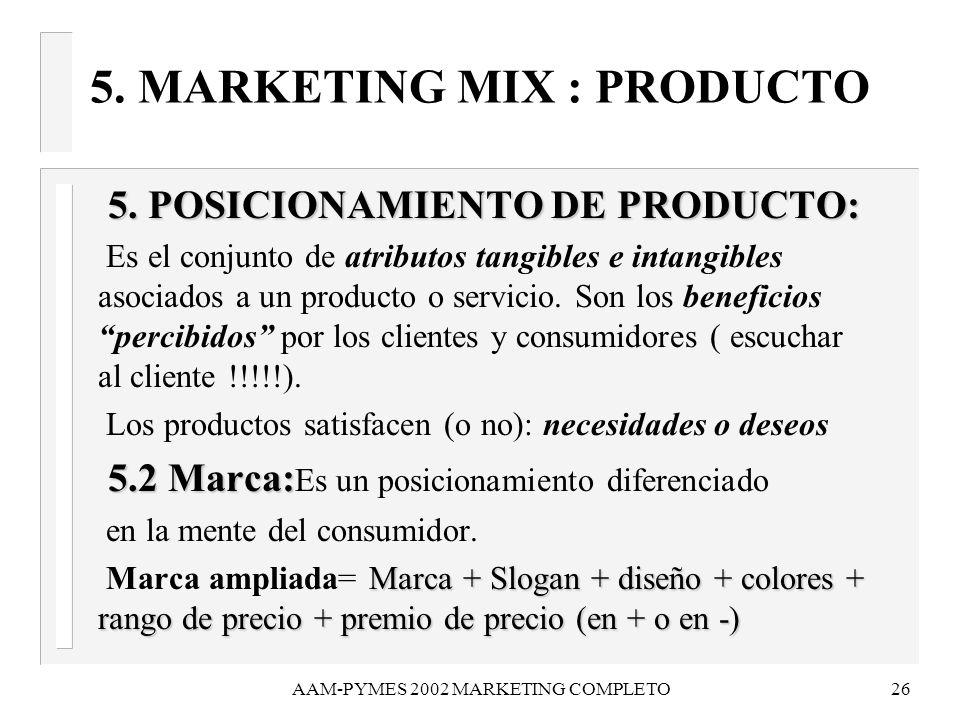 AAM-PYMES 2002 MARKETING COMPLETO26 5. MARKETING MIX : PRODUCTO 5. POSICIONAMIENTO DE PRODUCTO: 5. POSICIONAMIENTO DE PRODUCTO: Es el conjunto de atri