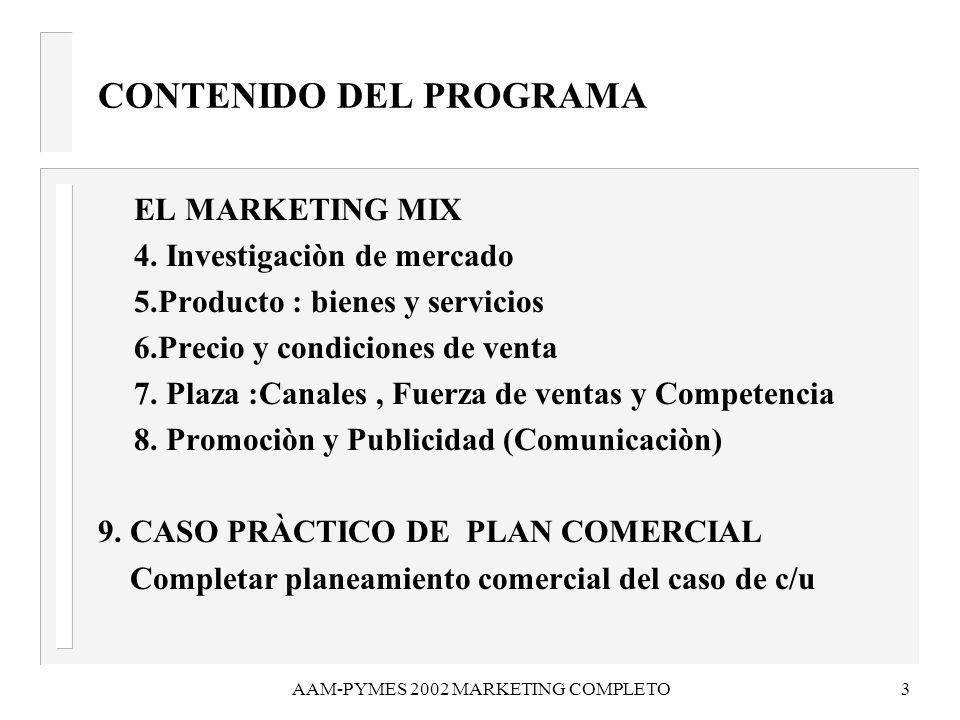 AAM-PYMES 2002 MARKETING COMPLETO3 EL MARKETING MIX 4. Investigaciòn de mercado 5.Producto : bienes y servicios 6.Precio y condiciones de venta 7. Pla