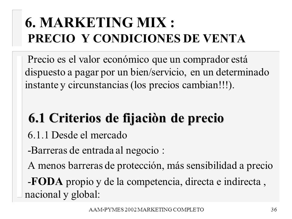 AAM-PYMES 2002 MARKETING COMPLETO36 6. MARKETING MIX : PRECIO Y CONDICIONES DE VENTA Precio es el valor económico que un comprador está dispuesto a pa