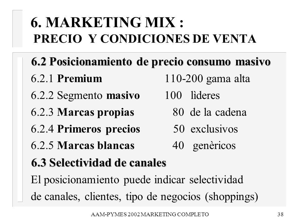 AAM-PYMES 2002 MARKETING COMPLETO38 6.2 Posicionamiento de precio consumo masivo 6.2 Posicionamiento de precio consumo masivo 6.2.1 Premium 110-200 ga