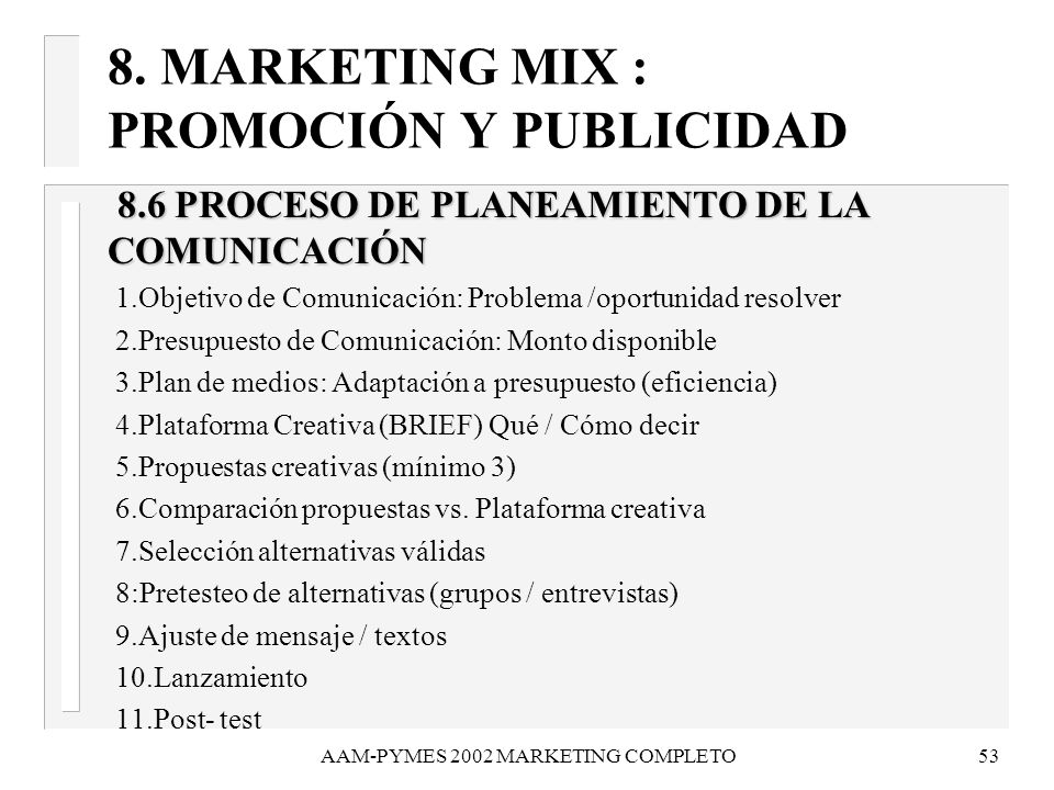 AAM-PYMES 2002 MARKETING COMPLETO54 9.CASO PRÁCTICO DE PLAN COMERCIAL 1.