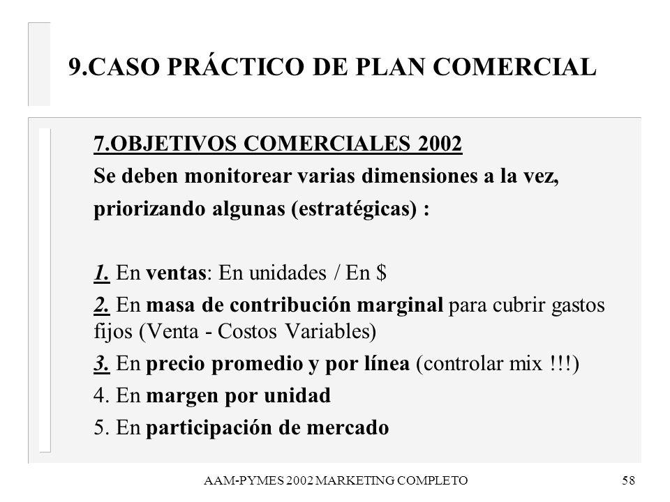 AAM-PYMES 2002 MARKETING COMPLETO58 9.CASO PRÁCTICO DE PLAN COMERCIAL 7.OBJETIVOS COMERCIALES 2002 Se deben monitorear varias dimensiones a la vez, pr