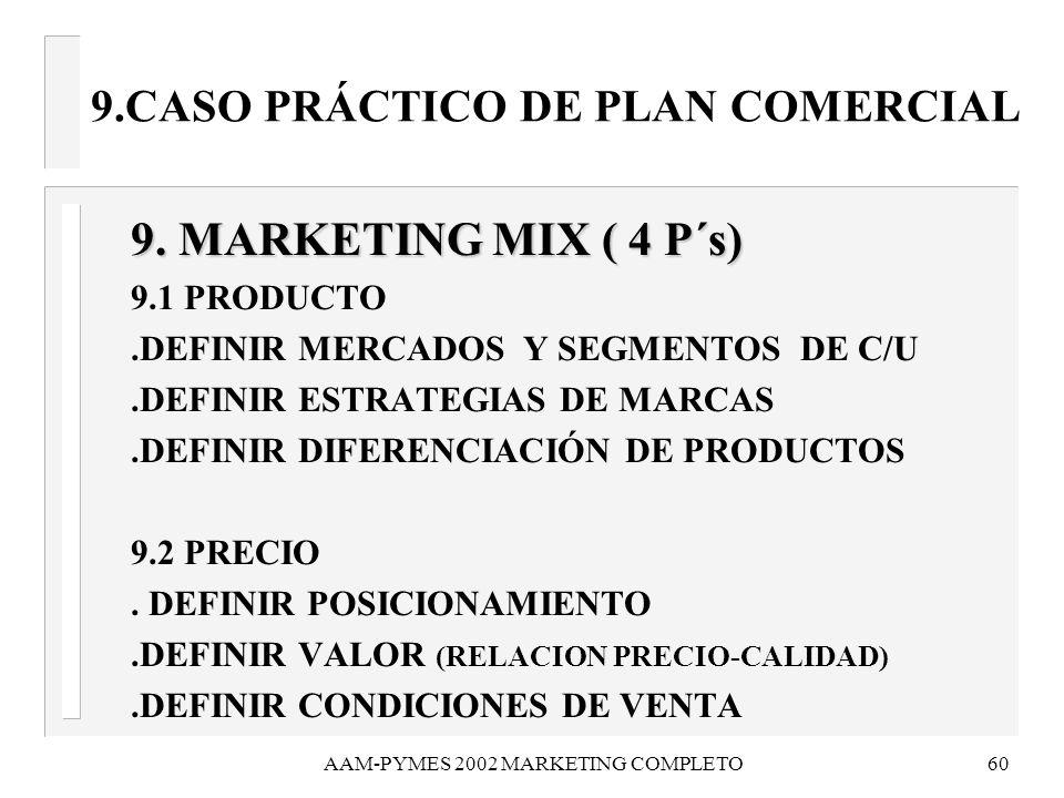 AAM-PYMES 2002 MARKETING COMPLETO60 9.CASO PRÁCTICO DE PLAN COMERCIAL 9. MARKETING MIX ( 4 P´s) 9. MARKETING MIX ( 4 P´s) 9.1 PRODUCTO.DEFINIR MERCADO