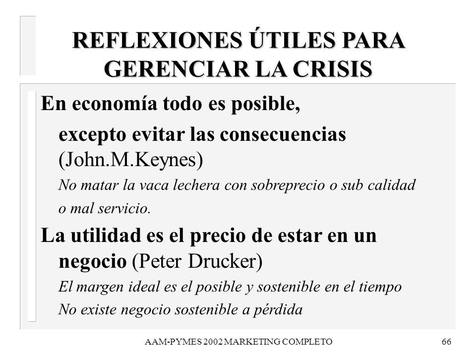 AAM-PYMES 2002 MARKETING COMPLETO66 REFLEXIONES ÚTILES PARA GERENCIAR LA CRISIS En economía todo es posible, excepto evitar las consecuencias (John.M.