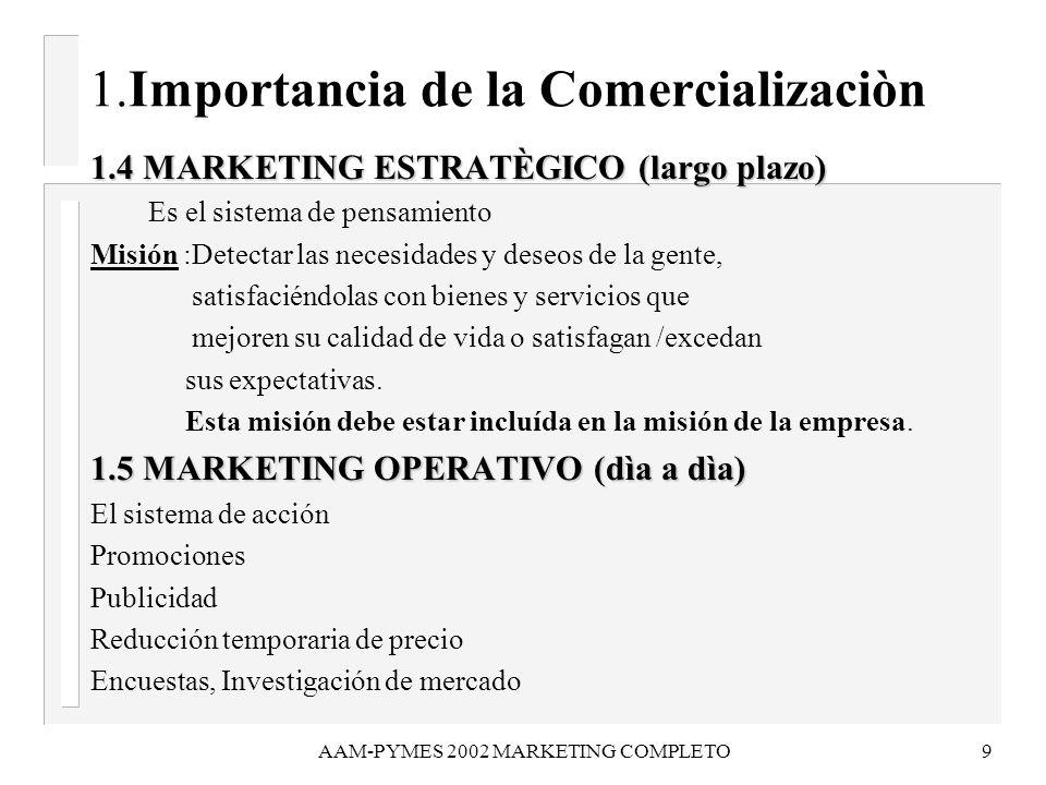 AAM-PYMES 2002 MARKETING COMPLETO9 1.Importancia de la Comercializaciòn 1.4 MARKETING ESTRATÈGICO (largo plazo) 1.4 MARKETING ESTRATÈGICO (largo plazo