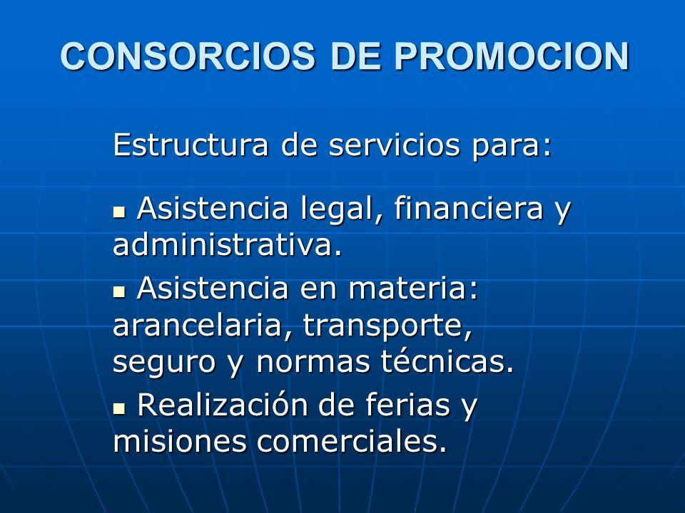 CONSORCIOS DE PROMOCION Estructura de servicios para: Asistencia legal, financiera y administrativa. Asistencia legal, financiera y administrativa. As