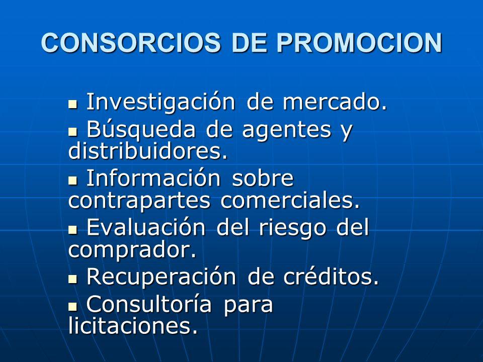 CONSORCIOS DE PROMOCION Investigación de mercado. Investigación de mercado. Búsqueda de agentes y distribuidores. Búsqueda de agentes y distribuidores