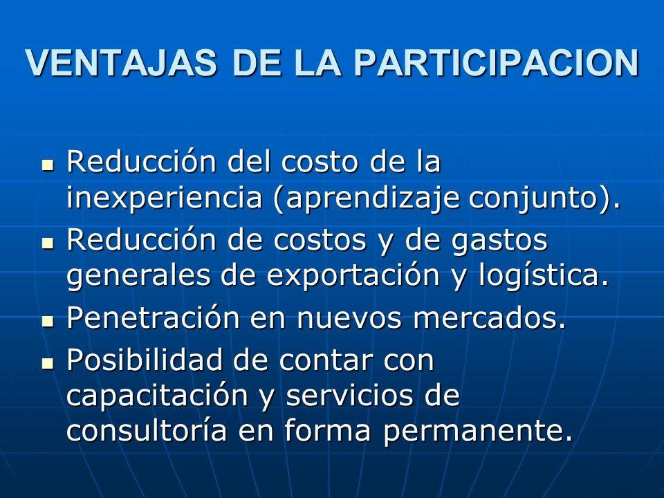 VENTAJAS DE LA PARTICIPACION Reducción del costo de la inexperiencia (aprendizaje conjunto). Reducción del costo de la inexperiencia (aprendizaje conj