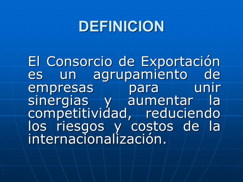 DEFINICION El Consorcio de Exportación es un agrupamiento de empresas para unir sinergias y aumentar la competitividad, reduciendo los riesgos y costo