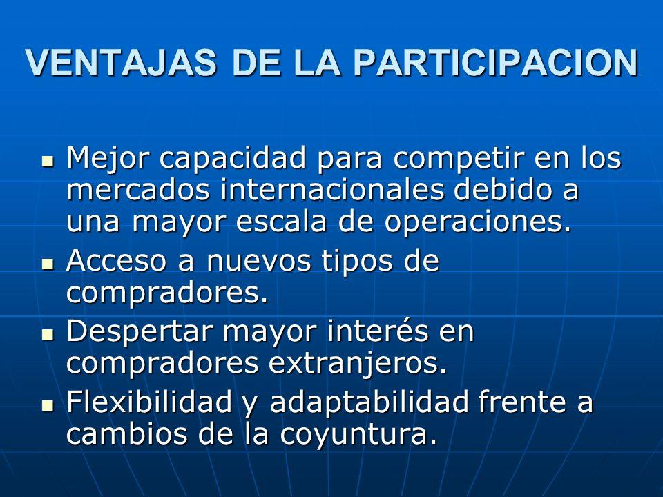 VENTAJAS DE LA PARTICIPACION Mejor capacidad para competir en los mercados internacionales debido a una mayor escala de operaciones. Mejor capacidad p