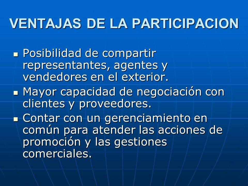 VENTAJAS DE LA PARTICIPACION Posibilidad de compartir representantes, agentes y vendedores en el exterior. Posibilidad de compartir representantes, ag