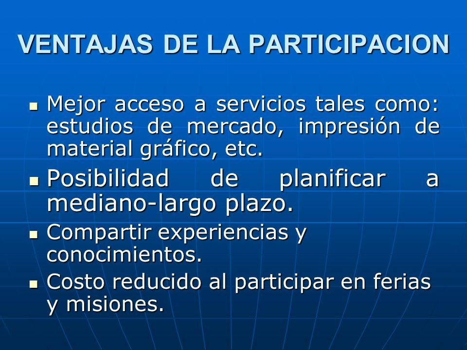 VENTAJAS DE LA PARTICIPACION Mejor acceso a servicios tales como: estudios de mercado, impresión de material gráfico, etc. Mejor acceso a servicios ta