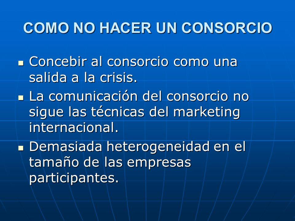 COMO NO HACER UN CONSORCIO Concebir al consorcio como una salida a la crisis. Concebir al consorcio como una salida a la crisis. La comunicación del c