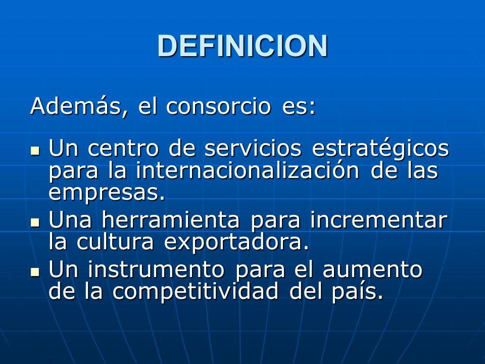 DEFINICION Además, el consorcio es: Un centro de servicios estratégicos para la internacionalización de las empresas. Un centro de servicios estratégi
