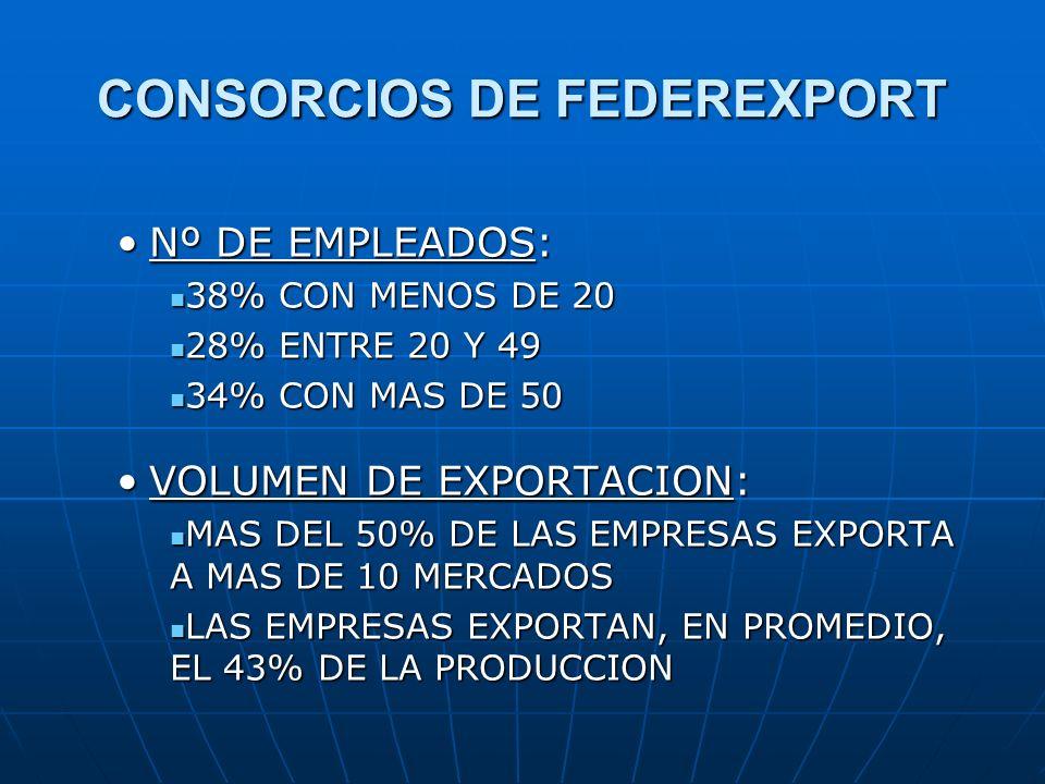 CONSORCIOS DE FEDEREXPORT Nº DE EMPLEADOS:Nº DE EMPLEADOS: 38% CON MENOS DE 20 38% CON MENOS DE 20 28% ENTRE 20 Y 49 28% ENTRE 20 Y 49 34% CON MAS DE