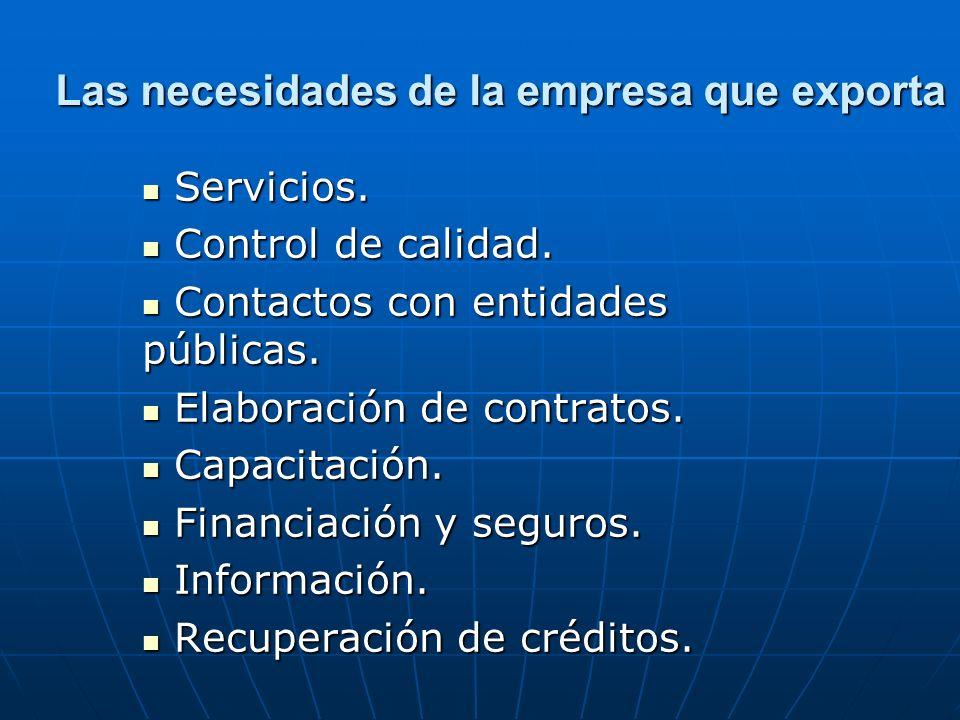 Las necesidades de la empresa que exporta Servicios. Servicios. Control de calidad. Control de calidad. Contactos con entidades públicas. Contactos co