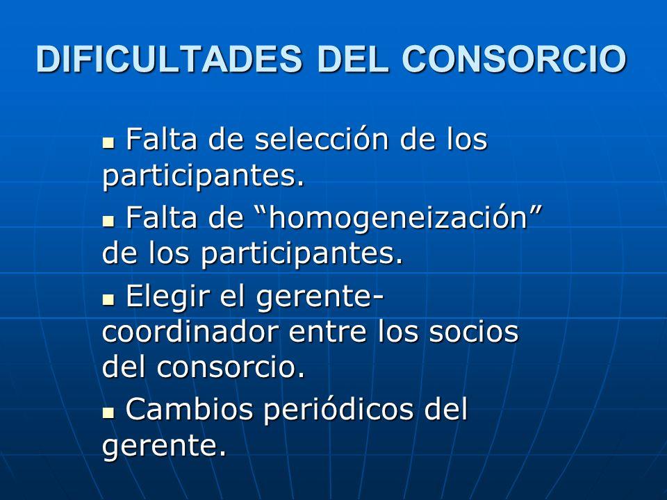 DIFICULTADES DEL CONSORCIO Falta de selección de los participantes. Falta de selección de los participantes. Falta de homogeneización de los participa