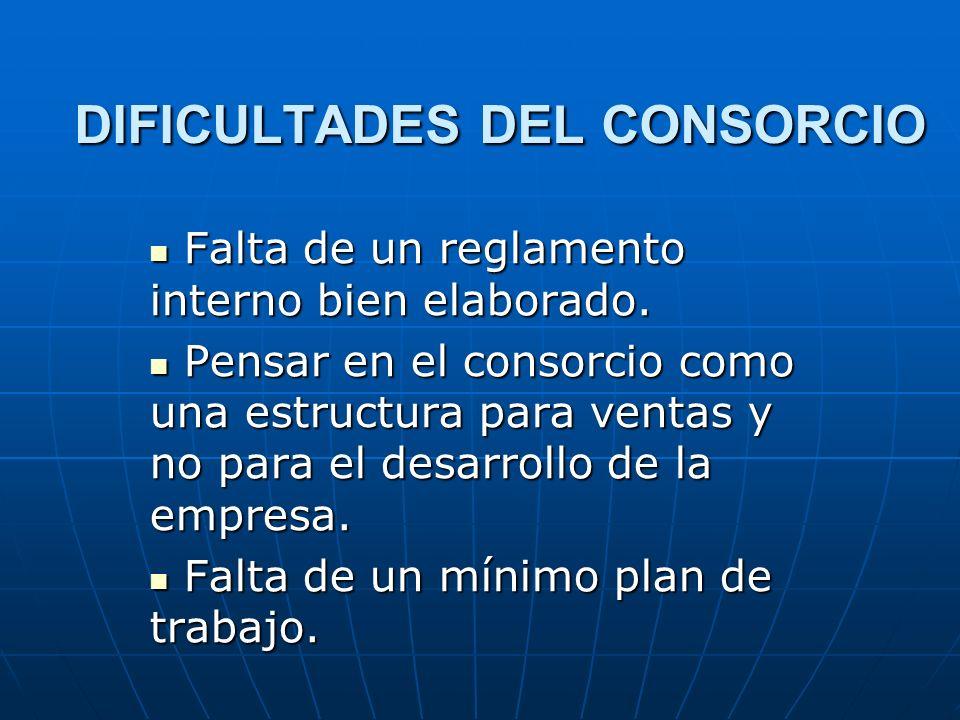 DIFICULTADES DEL CONSORCIO Falta de un reglamento interno bien elaborado. Falta de un reglamento interno bien elaborado. Pensar en el consorcio como u