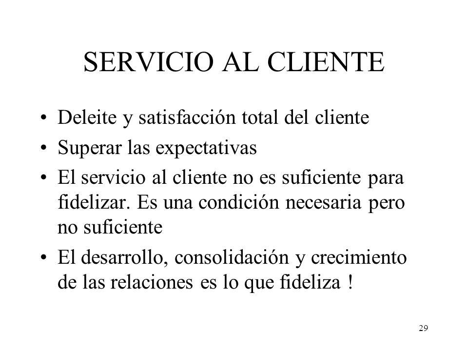 29 SERVICIO AL CLIENTE Deleite y satisfacción total del cliente Superar las expectativas El servicio al cliente no es suficiente para fidelizar. Es un