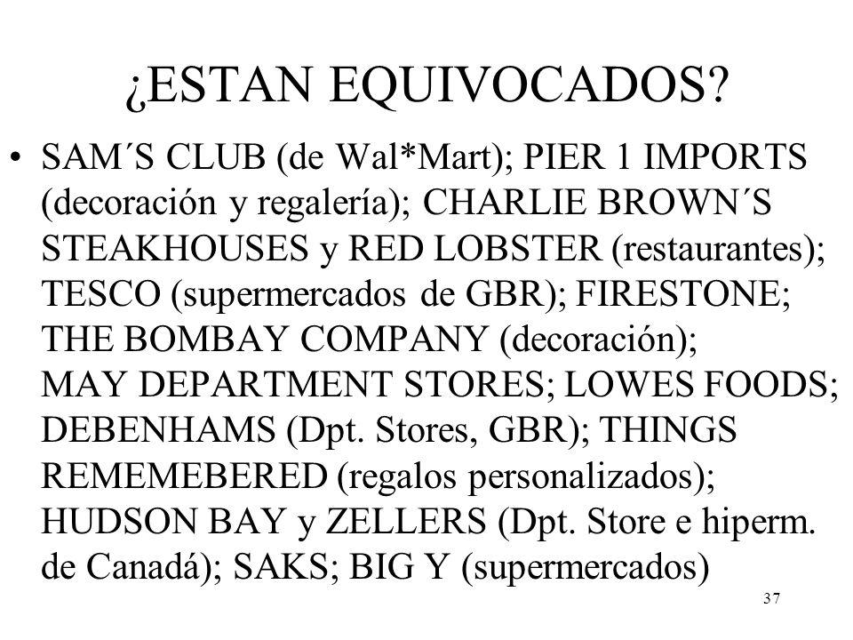 37 ¿ESTAN EQUIVOCADOS? SAM´S CLUB (de Wal*Mart); PIER 1 IMPORTS (decoración y regalería); CHARLIE BROWN´S STEAKHOUSES y RED LOBSTER (restaurantes); TE