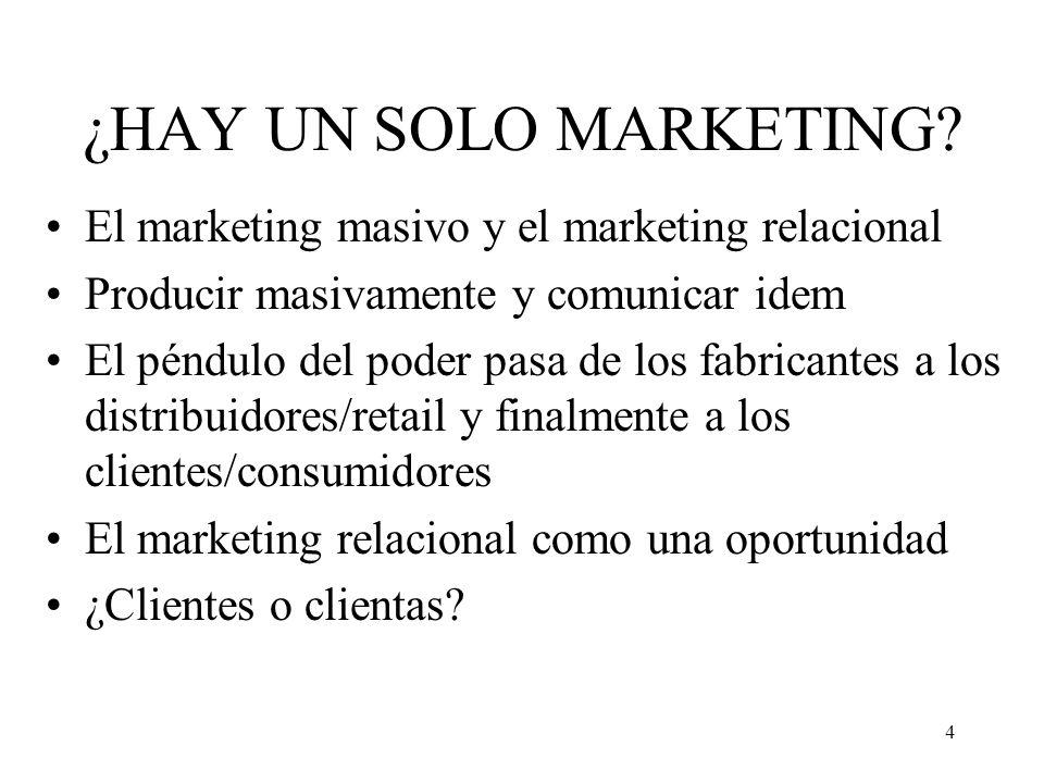 4 ¿HAY UN SOLO MARKETING? El marketing masivo y el marketing relacional Producir masivamente y comunicar idem El péndulo del poder pasa de los fabrica