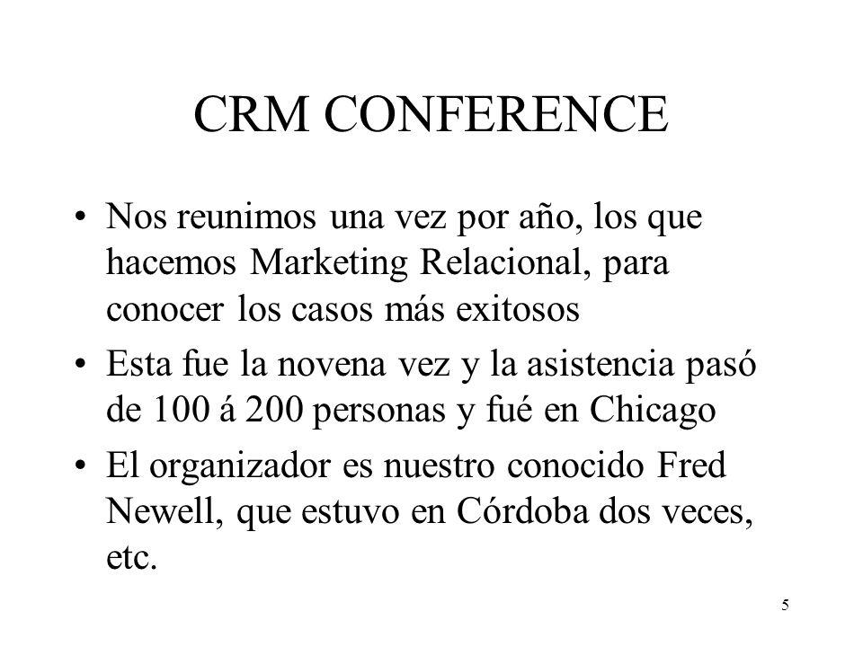 5 CRM CONFERENCE Nos reunimos una vez por año, los que hacemos Marketing Relacional, para conocer los casos más exitosos Esta fue la novena vez y la a