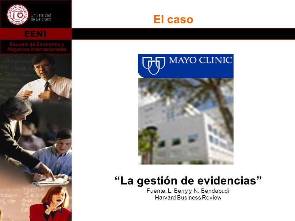 Universidad de Belgrano EENI Escuela de Economía y Negocios Internacionales El caso La gestión de evidencias Fuente: L. Berry y N. Bendapudi Harvard B