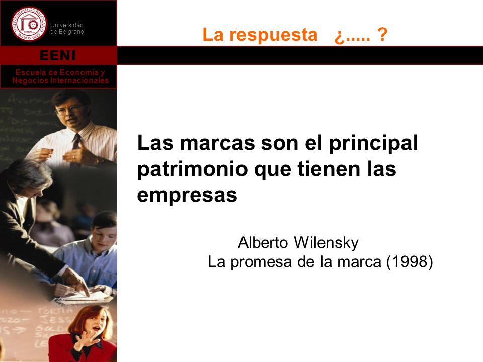Universidad de Belgrano EENI Escuela de Economía y Negocios Internacionales La respuesta ¿..... ? Las marcas son el principal patrimonio que tienen la