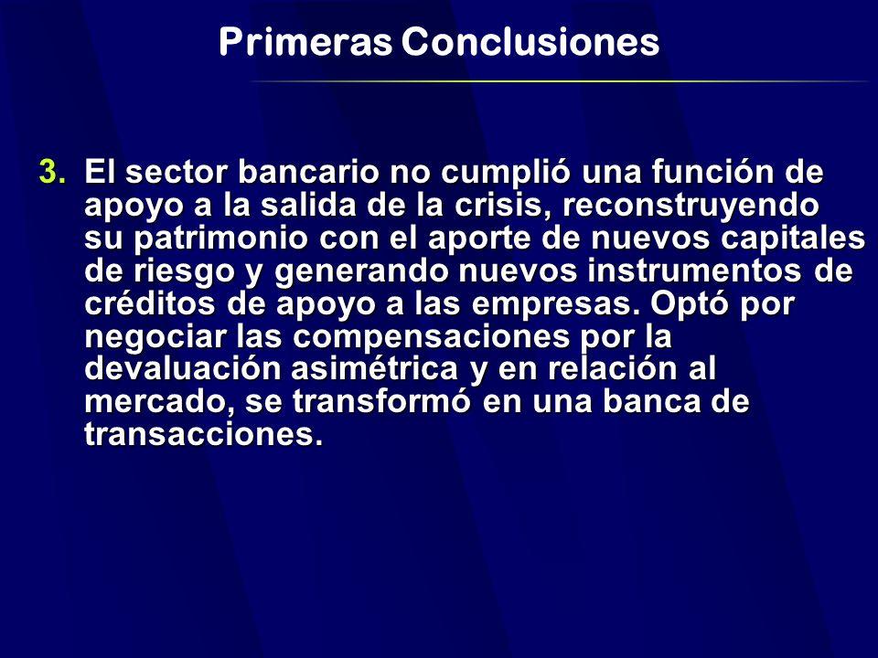 Primeras Conclusiones 3.El sector bancario no cumplió una función de apoyo a la salida de la crisis, reconstruyendo su patrimonio con el aporte de nuevos capitales de riesgo y generando nuevos instrumentos de créditos de apoyo a las empresas.