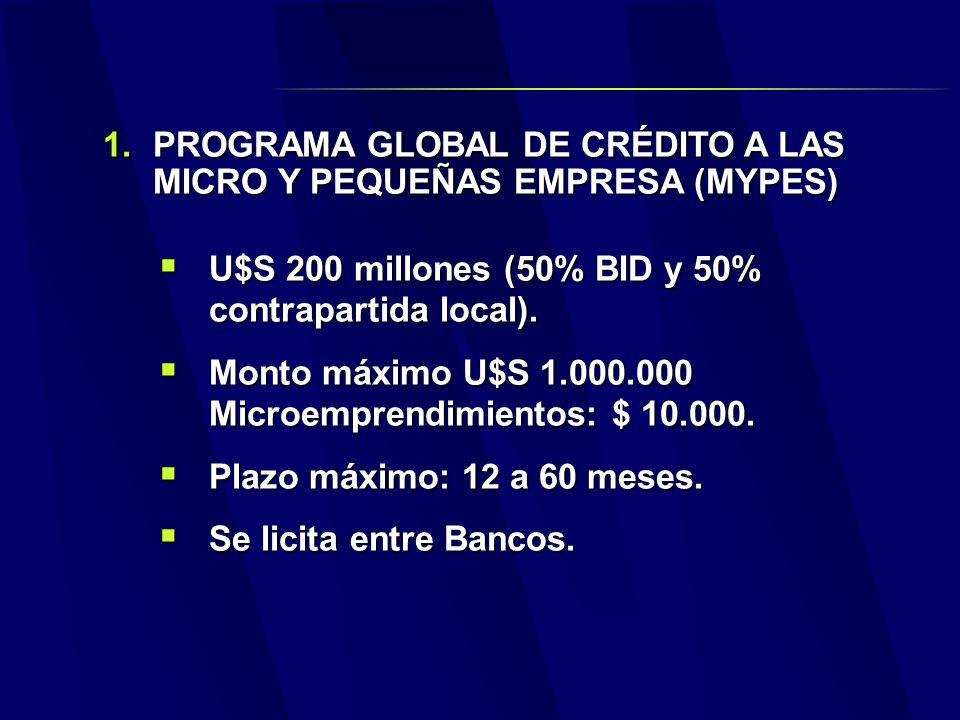 1.PROGRAMA GLOBAL DE CRÉDITO A LAS MICRO Y PEQUEÑAS EMPRESA (MYPES) U$S 200 millones (50% BID y 50% contrapartida local).