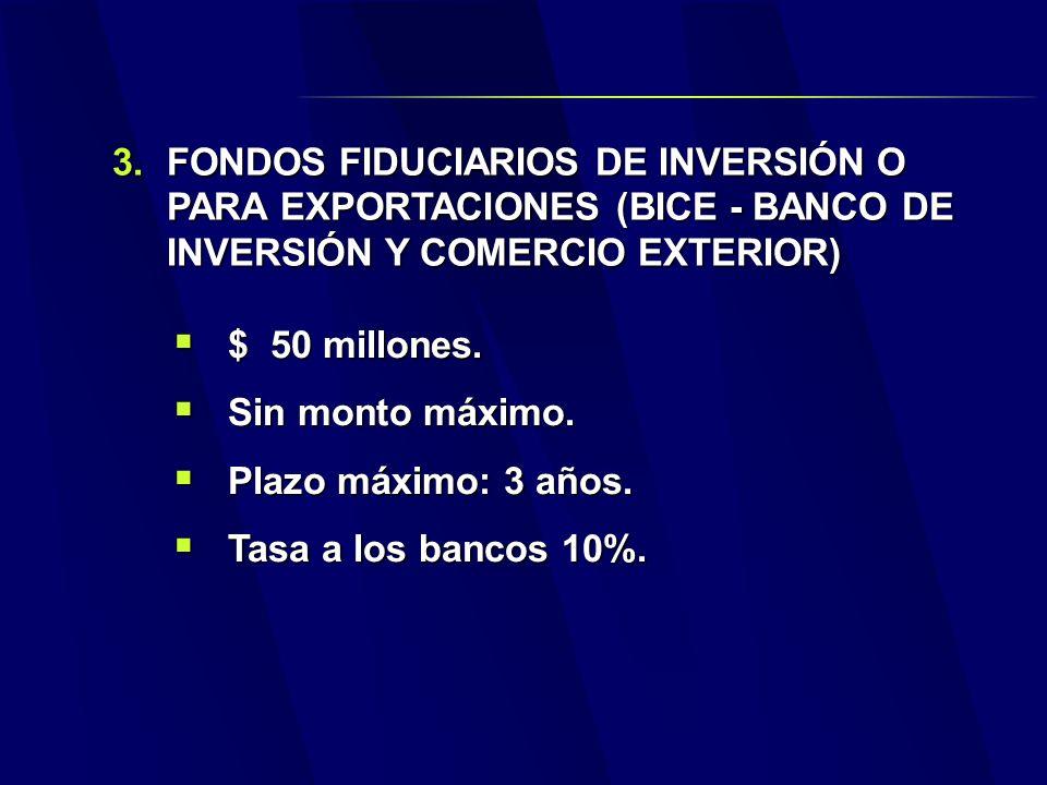 3.FONDOS FIDUCIARIOS DE INVERSIÓN O PARA EXPORTACIONES (BICE - BANCO DE INVERSIÓN Y COMERCIO EXTERIOR) $ 50 millones.