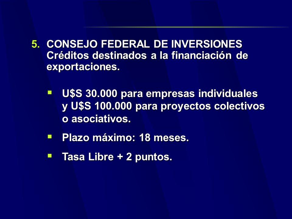 5.CONSEJO FEDERAL DE INVERSIONES Créditos destinados a la financiación de exportaciones.
