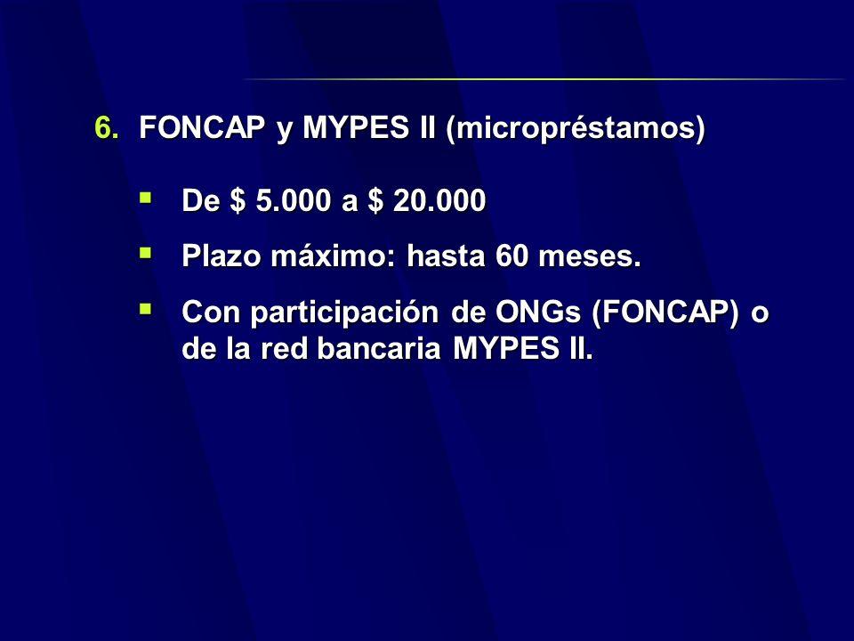 6.FONCAP y MYPES II (micropréstamos) De $ 5.000 a $ 20.000 De $ 5.000 a $ 20.000 Plazo máximo: hasta 60 meses.