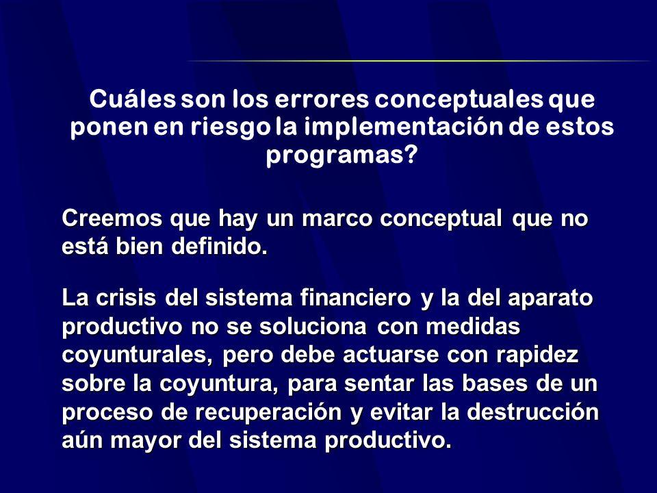 Cuáles son los errores conceptuales que ponen en riesgo la implementación de estos programas.