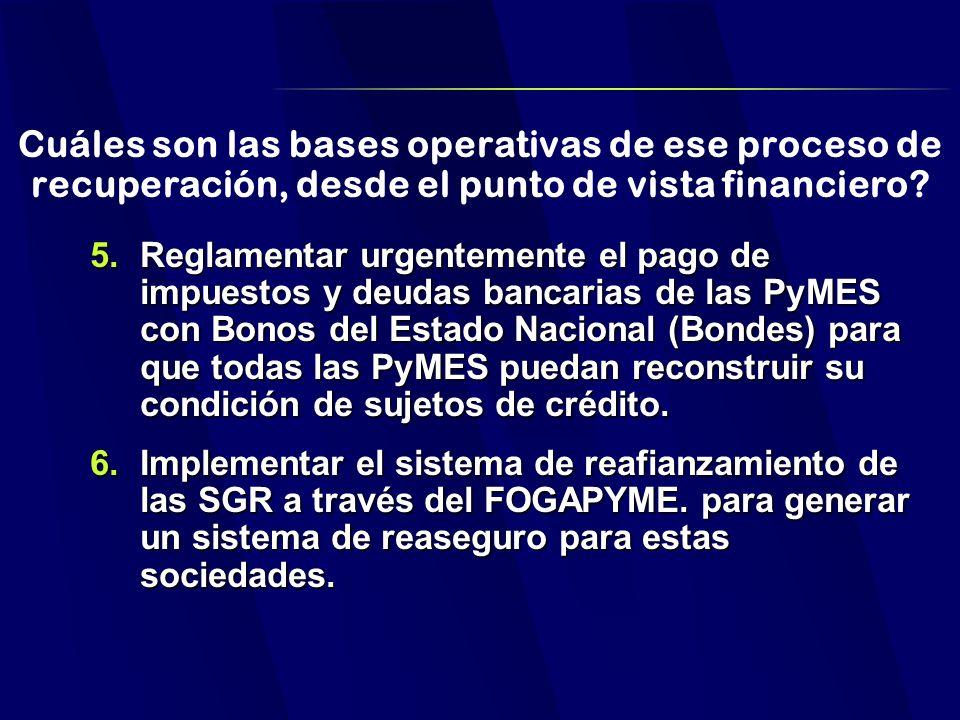 Cuáles son las bases operativas de ese proceso de recuperación, desde el punto de vista financiero.