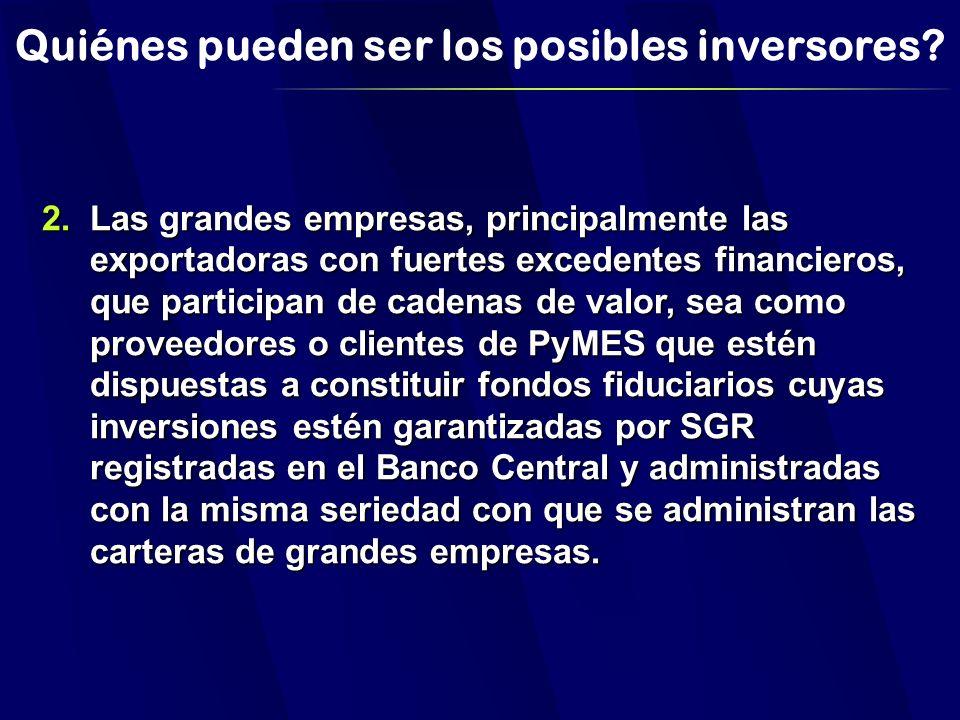 Quiénes pueden ser los posibles inversores.